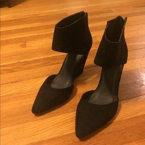Black suede wedge heel. Size 10